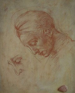 Head in red chalk (after Michelangelo 1512)